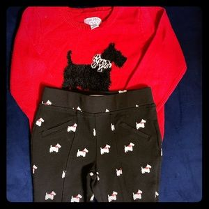 Red dog sweater & pants